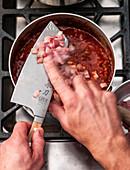Making red mullet bolognese