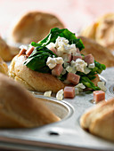 Yorkshire puddings filled with spinach, mortadella and ricotta