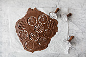 Chocolate dough with cookie stamps