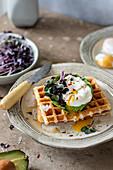 Pikante Waffeln mit Avocado, pochiertem Ei und Rettichsprossen