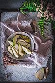 Rustic pears in a kitchen setting