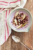 Muesli with apple and yoghurt