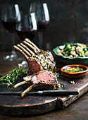 Rack of lamb with salad