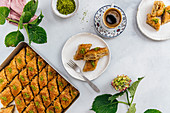 Turkish coffee and baklava with walnuts and pistachio