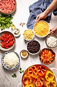 Zutaten für gefüllte mexikanische Paprikaschoten