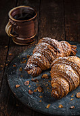 Almond croissants with powdered sugar
