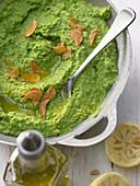 Green pea puree with roasted garlic