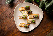 Sesame crackers with tapenade