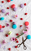 From above retro scissors and pink flowers placed on white cloth amidst colorful tasty macaroons and fresh raspberries