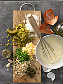 Almond remoulade with various ingredients