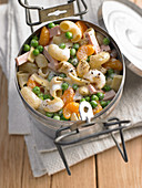 Pasta salad with peas, sausage and mandarin segments