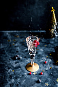 A glass of sparkling champagne with blueberries and redcurrants