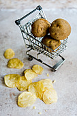 Potato chips, and raw potatoes in a miniature shopping cart