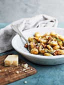 Potato gnocchi with mushrooms, parmesan and sage