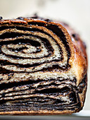 Sliced chocolate babka (close-up)