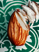 A semi-chopped almond (close-up)