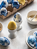 Blue marbled and gold Easter eggs