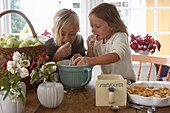 Two girls tasting dough from a mixing bowl