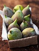 Fresh figs in cardboard box