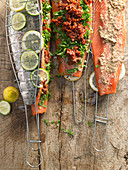 Salmon trout fillets for grilling