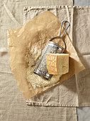 Grana Padano, block and grated