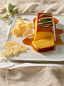 Pumpkin Grana Padano crème caramel with Grana Padano chips