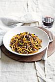Taglierini alla piemontese (taglierini pasta with a liver and porcini mushroom ragout, Italy)
