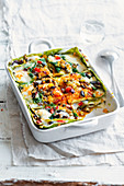 Lasagne verdi with oven-roasted vegetables and provola