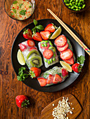 Oriental summer rolls with strawberries, kiwi and edamame