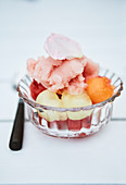 Fruit sorbet in a glass bowl