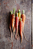Carrots on a wooden surface