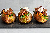 KUmpir baked potatoes with rump steak