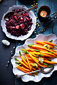 Apple and ginger wine braised red cabbage, Orange and rosemary butter carrots