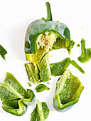 Chopped bell pepper on a white background