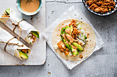 Jackfruit tinga burritos with chipotle sauce