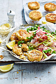 Salmon Cakes with Apple Salad