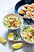 Fennel, Lemon, Pea and Prawn Risotto