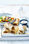 Lentil Sausage Rolls with Tomato Sumac Salad