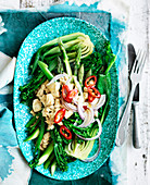 Steamed Asian Greens with Tofu