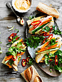 Fish Banh with Pickled Vegetables and Spicy Mayonnaise