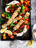 Fish Skewers with Labne and Chilli Tomato Salad