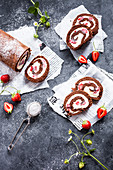 Chocolate strawberry roll cake