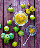 Greengage jam and fresh greengages