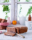 Wholemeal bread in front of a window