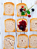 Melba toast with and without blackberry jelly