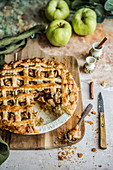 Freshly baked apple pie with cinnamon