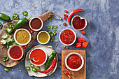 Eight types of chilli sauces