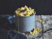 Curried pasta salad with grilled asparagus and egg