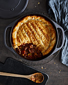 Guinness pie with Cheddar cheese and puff pastry