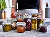 Various homemade preserves and pickles